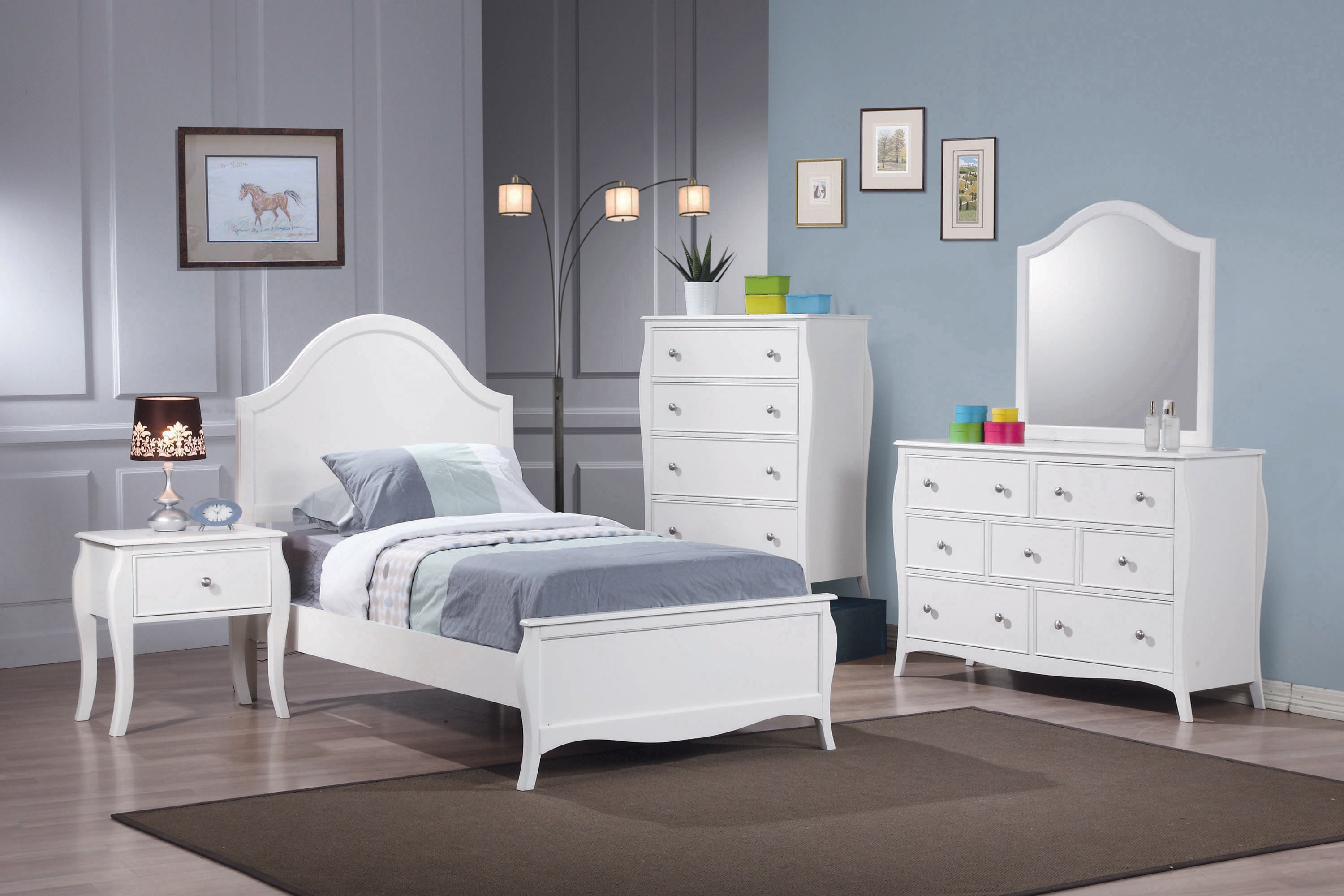 Dominique Collection Twin Panel Bed - White Finish