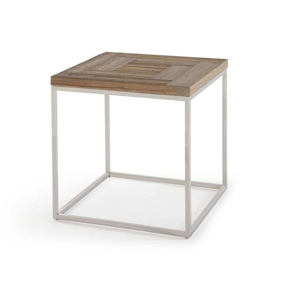 Ace Collection End Table - Reclaimed Wood/Stainless Steel