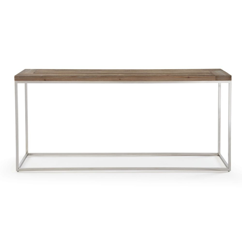 "Ace Collection 67"" Console Table - Reclaimed Wood/Stainless Steel"