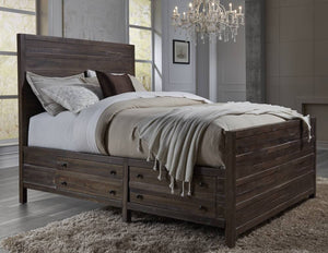 Townsend Collection Queen Storage Bed - Java Finish