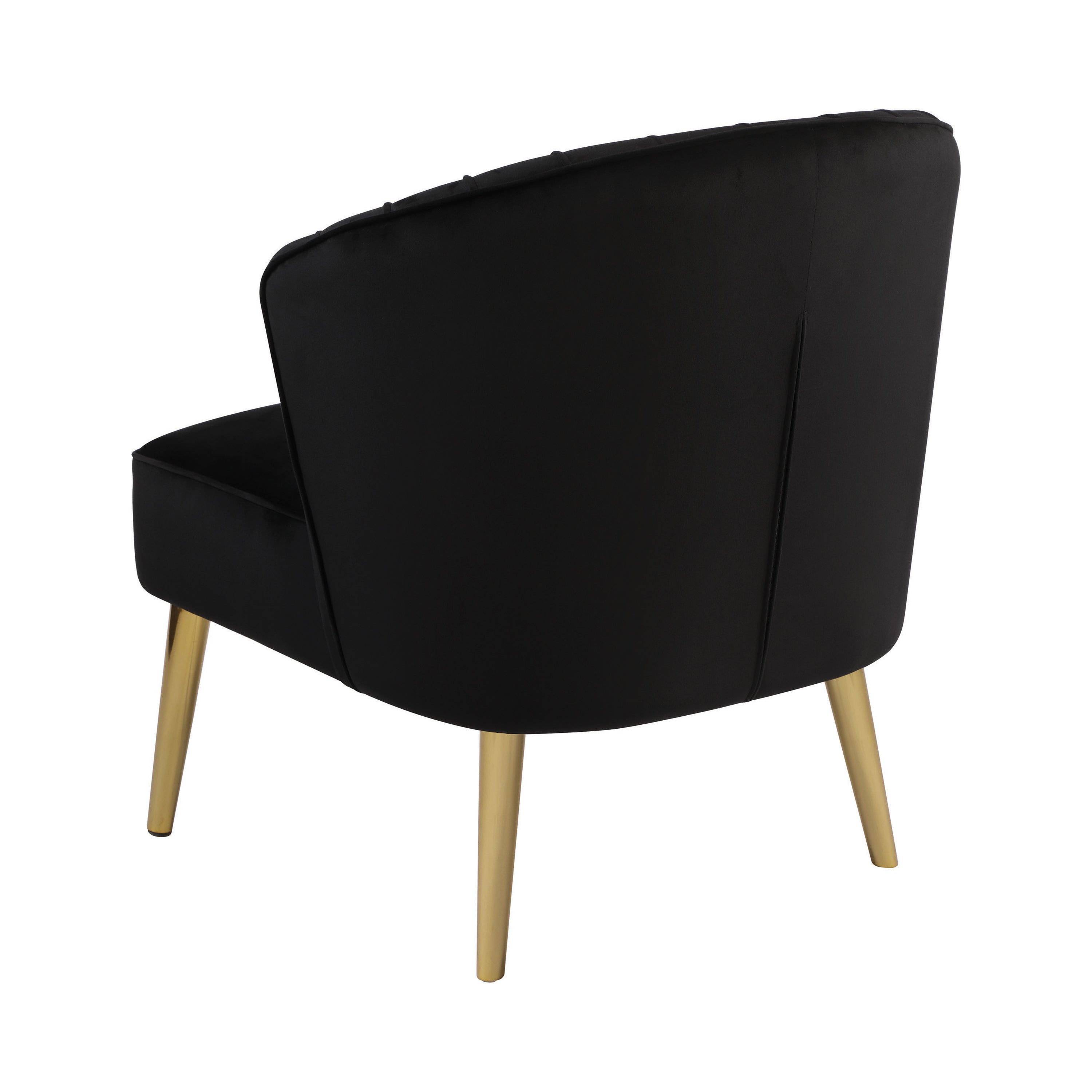 Retro Black Velvet Accent Chair