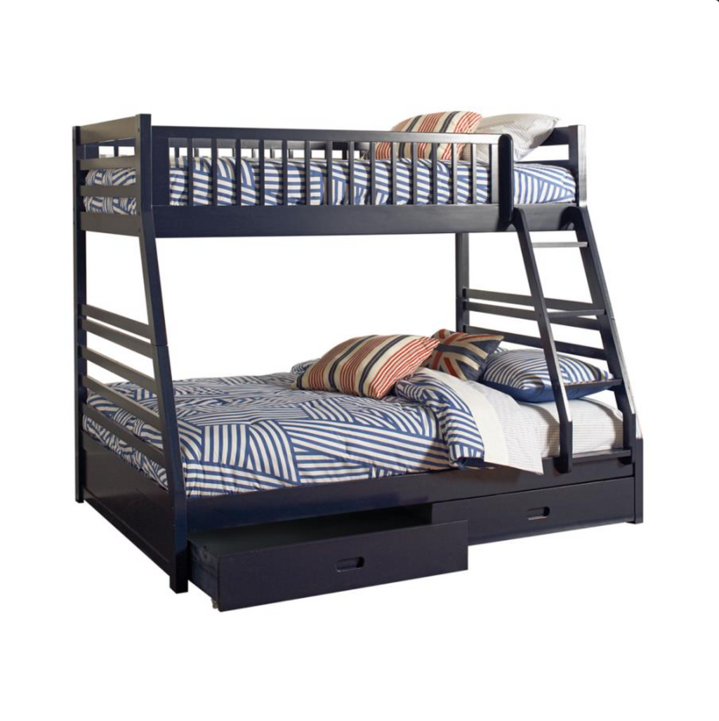 Ashton Collection Twin Over Full Bunk Bed w/Drawers - Navy Blue