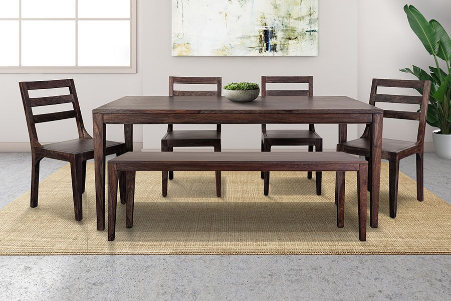 Fall River Solid Sheesham Wood Dining Bench - Dark Walnut Finish