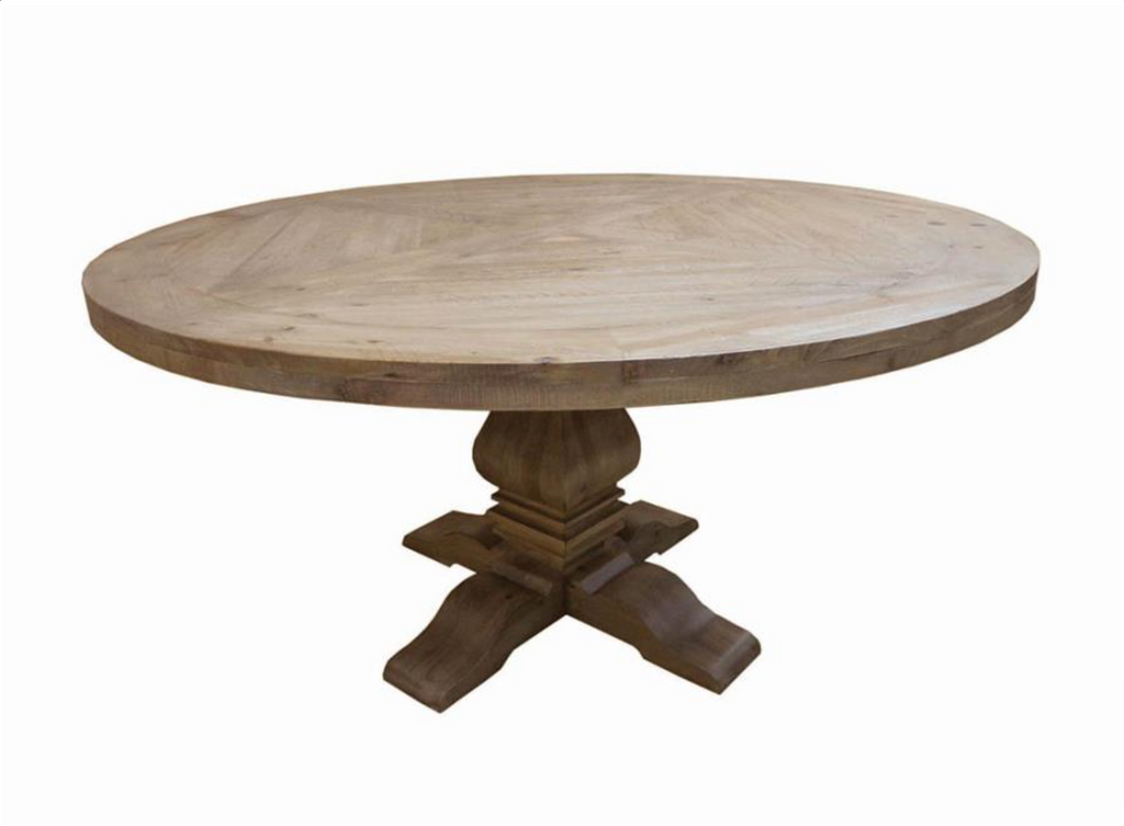 "Florence 60"" Round Solid Wood Dining Table - Rustic Smoke"