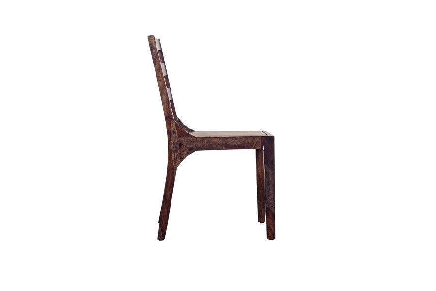 Fall River Collection Solid Sheesham Wood Dining Chair - Dark Walnut Finish