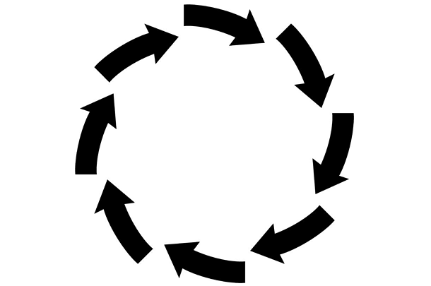 circle of black arrows