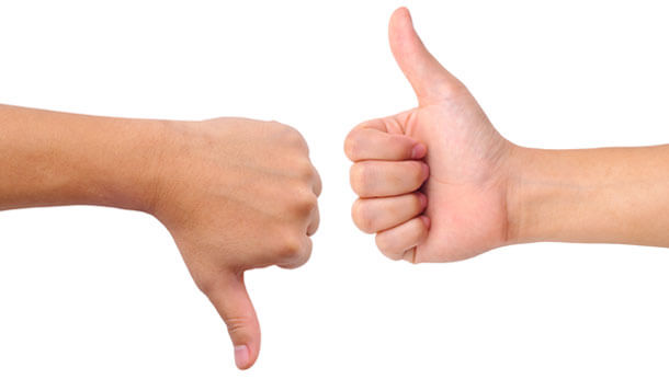 thumbs up thumbs down white background