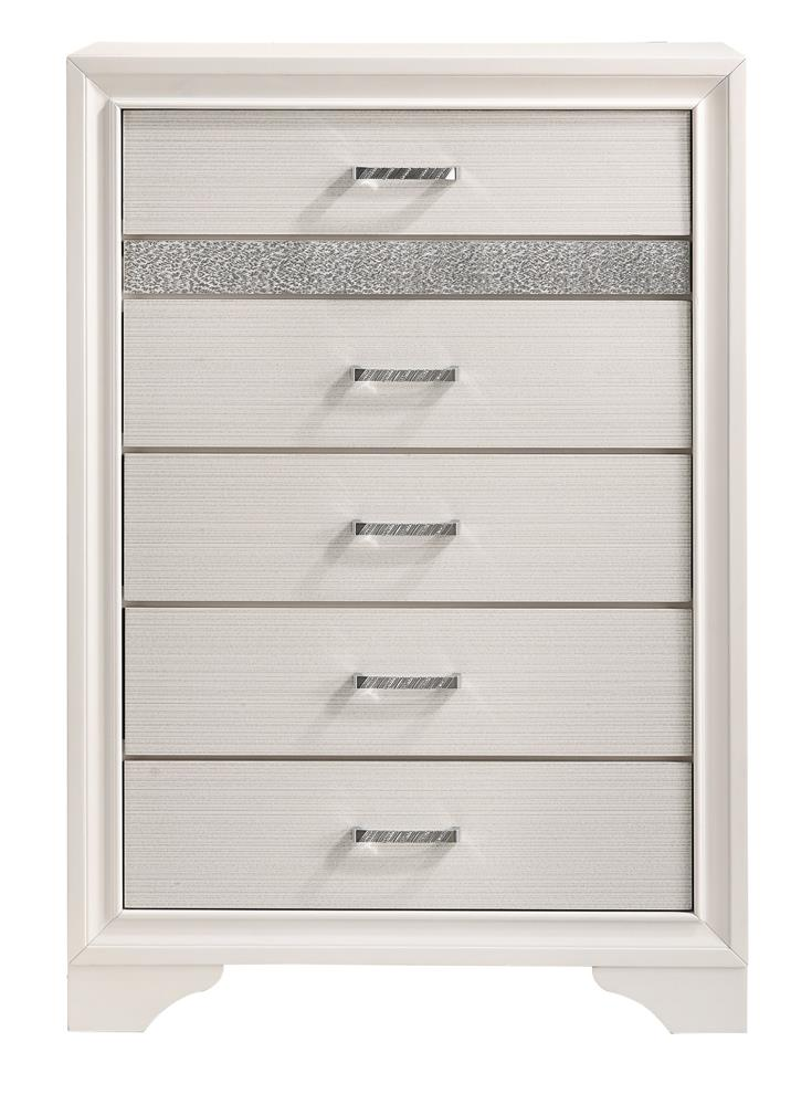 Miranda Modern Five-Drawer Chest With Hidden Jewelry Tray