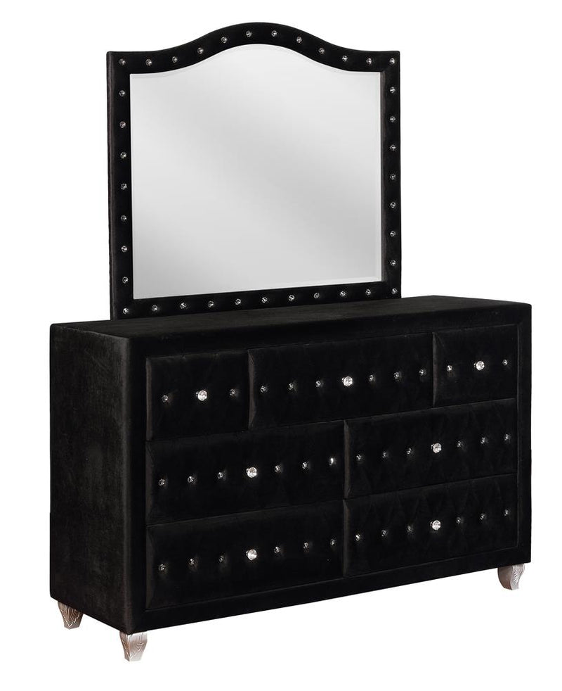 Deanna Contemporary Black and Metallic Mirror