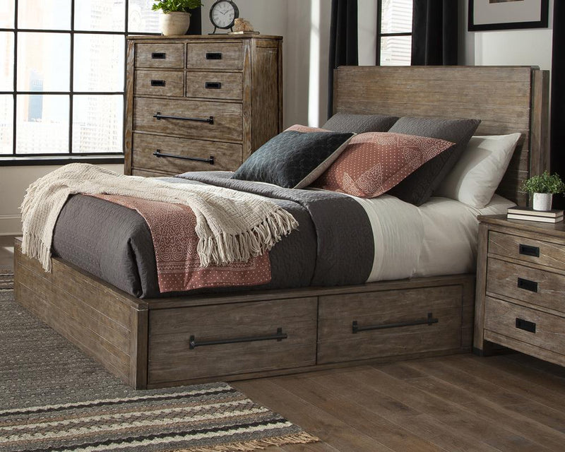Meester Rustic Barn Door Eastern King Bed
