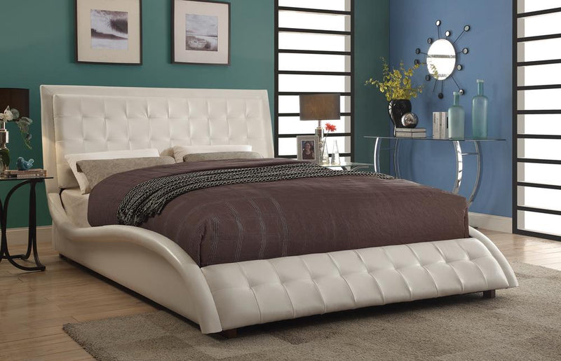 Tully Transitional White Upholstered Eastern King Bed