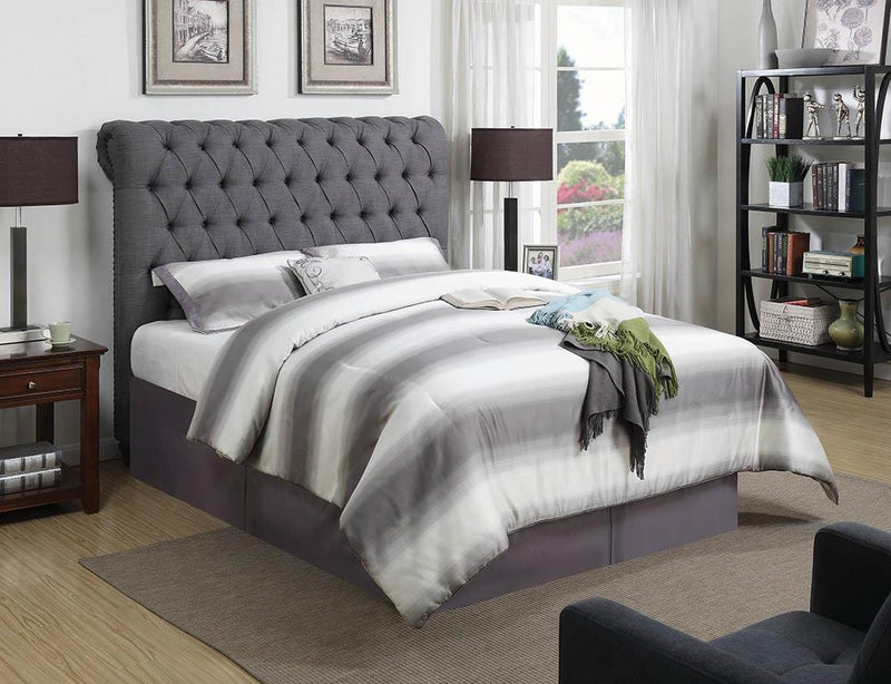 Devon Grey Upholstered California King Bed
