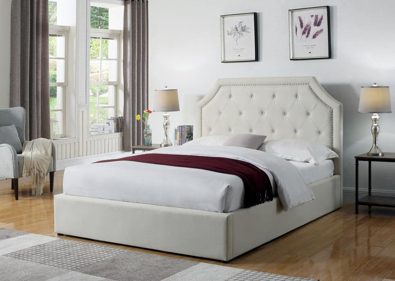 Hermosa Beige Upholstered King Bed With Hydraulic Lift Storage