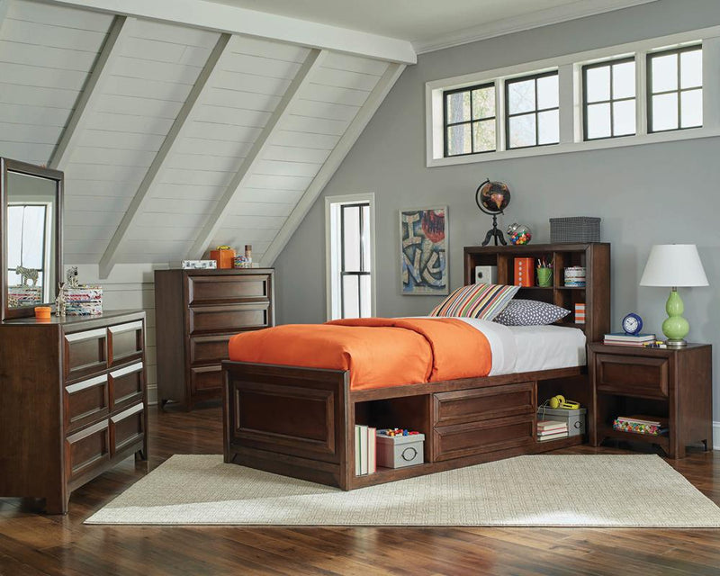 Greenough Transitional Maple Oak Twin Storage Bed
