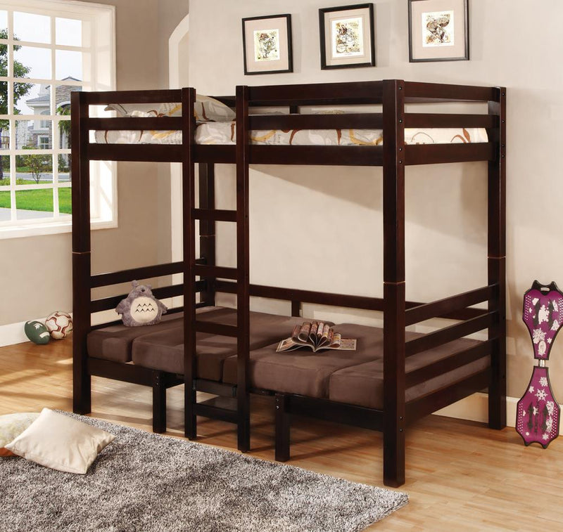 Joaquin Transitional Medium Brown Twin-over-Twin Bunk Bed