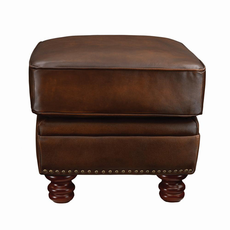 Montbrook Traditional Hand Rubbed Brown Ottoman
