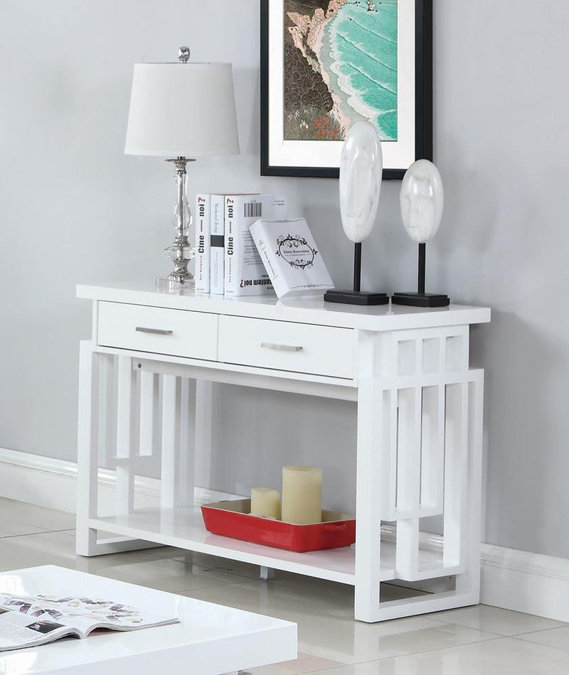 Transitional Glossy White Sofa Table
