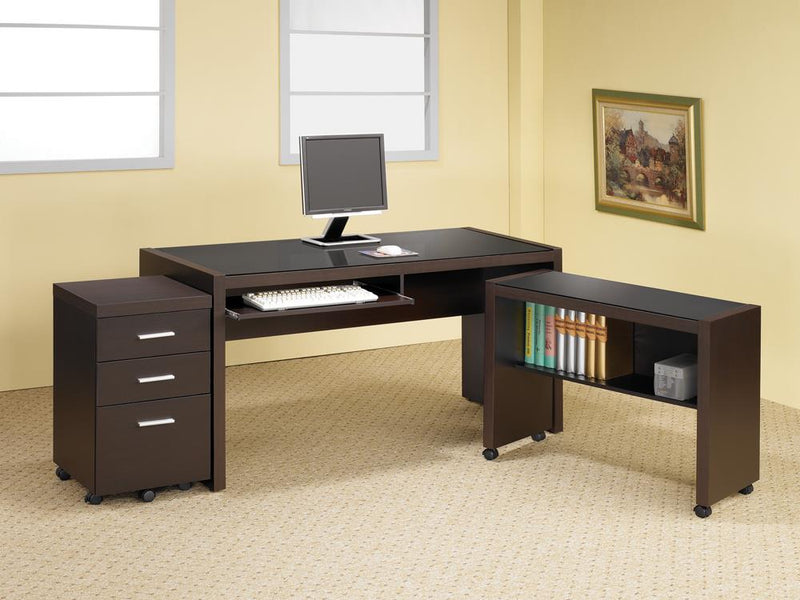 Skylar Contemporary Cappuccino Computer Desk With Keyboard Tray