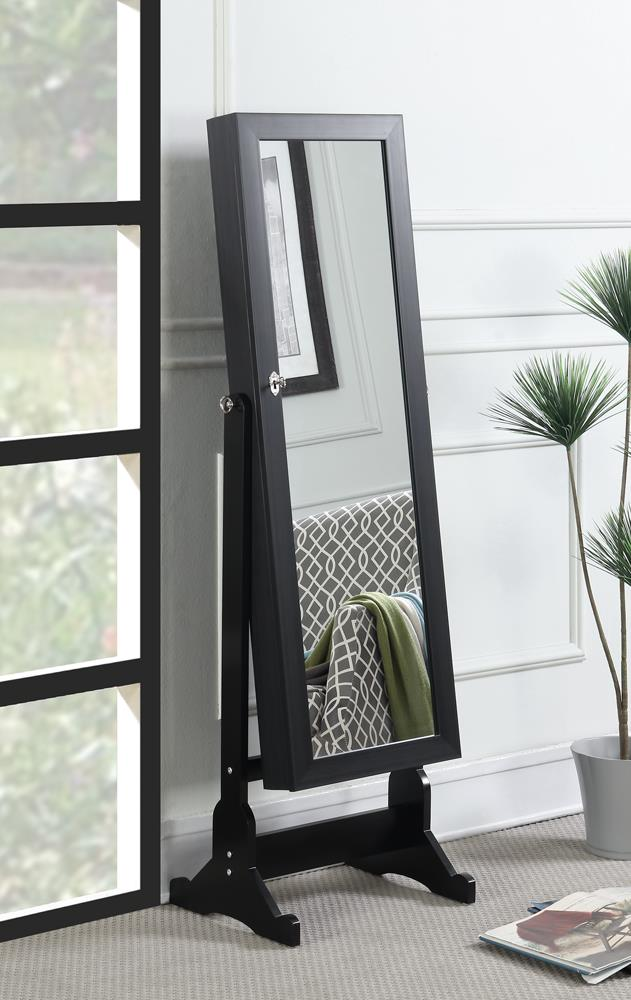 Transitional Black Jewelry Cheval Mirror