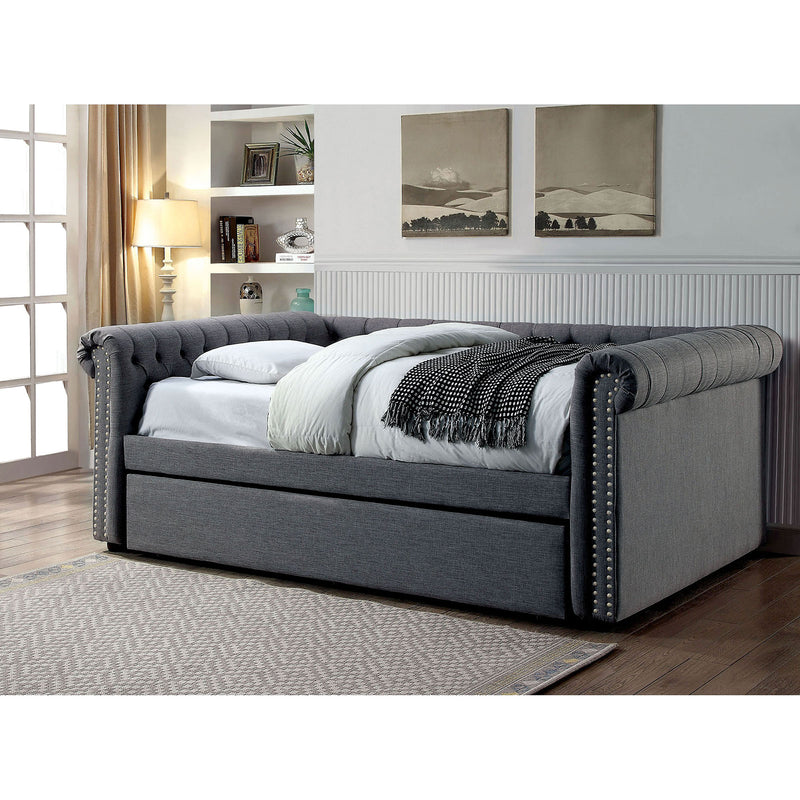 LEANNA Gray Full Daybed w/ Trundle, Gray
