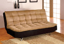 Mancora Tan/Black/Chrome Microfiber Futon Sofa, Camel & Black