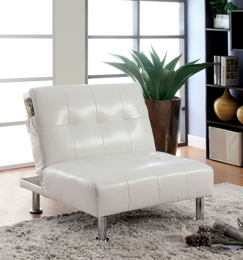 BULLE White/Chrome Chair w/ Side Pockets On Both Sides w/ White