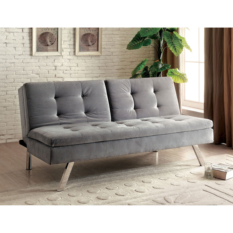 VALIER Light Gray Split-Back Futon Sofa, Gray