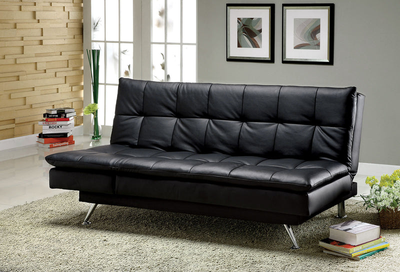 Hasty Black/Chrome Leatherette Futon Sofa
