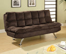 Cocoa Beach Brown/Chrome Elephant Skin Microfiber Futon Sofa
