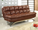 Aristo Saddle Brown Leatherette Futon Sofa, Saddle Brown