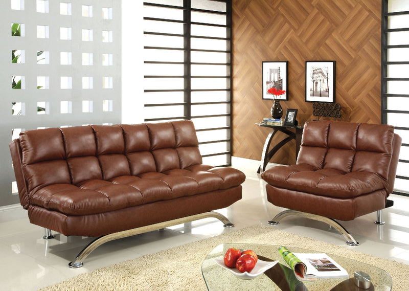 Aristo Saddle Brown Futon Sofa + Chair