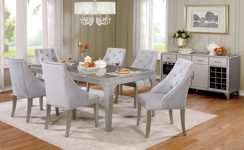 DIOCLES Silver, Light Gray 6 Pc. Dining Table Set w/ Bench