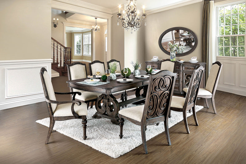 ARCADIA Rustic Natural Tone, Ivory 7 Pc. Dining Table Set (2AC+4SC)