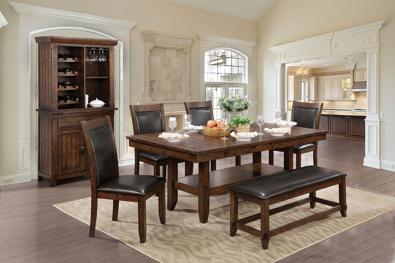 MEAGAN I Brown Cherry, Espresso 6 Pc. Dining Table Set w/ Bench