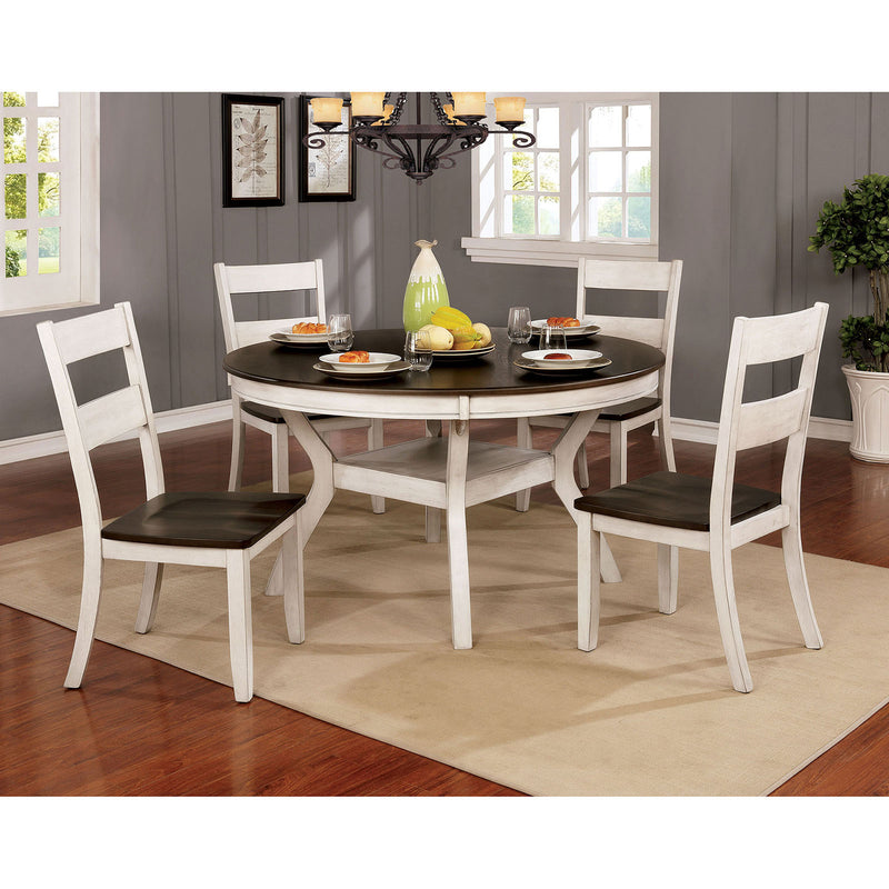 Juniper Antique White/Dark Oak Round Dining Table