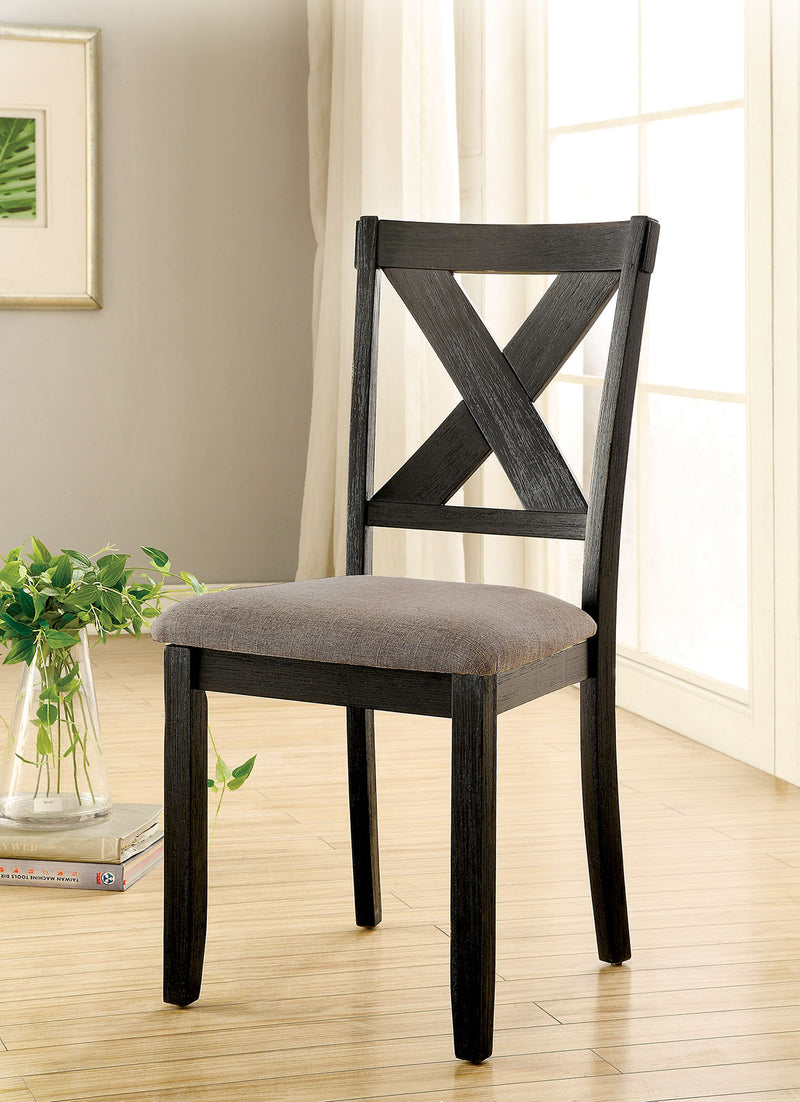 XANTHE Black/ Ivory Side Chair (2/CTN)