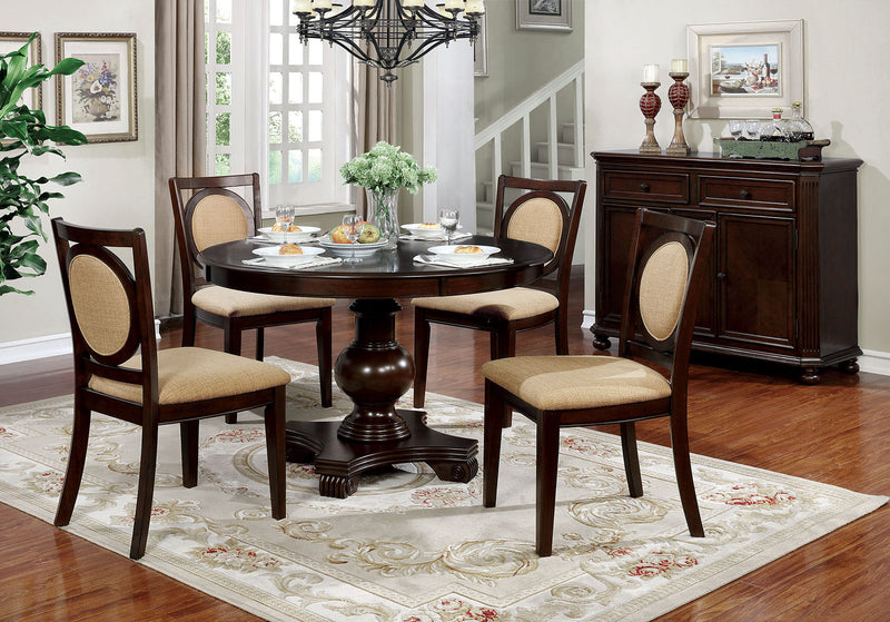 Abergele Brown Cherry 5 Pc. Round Dining Table Set