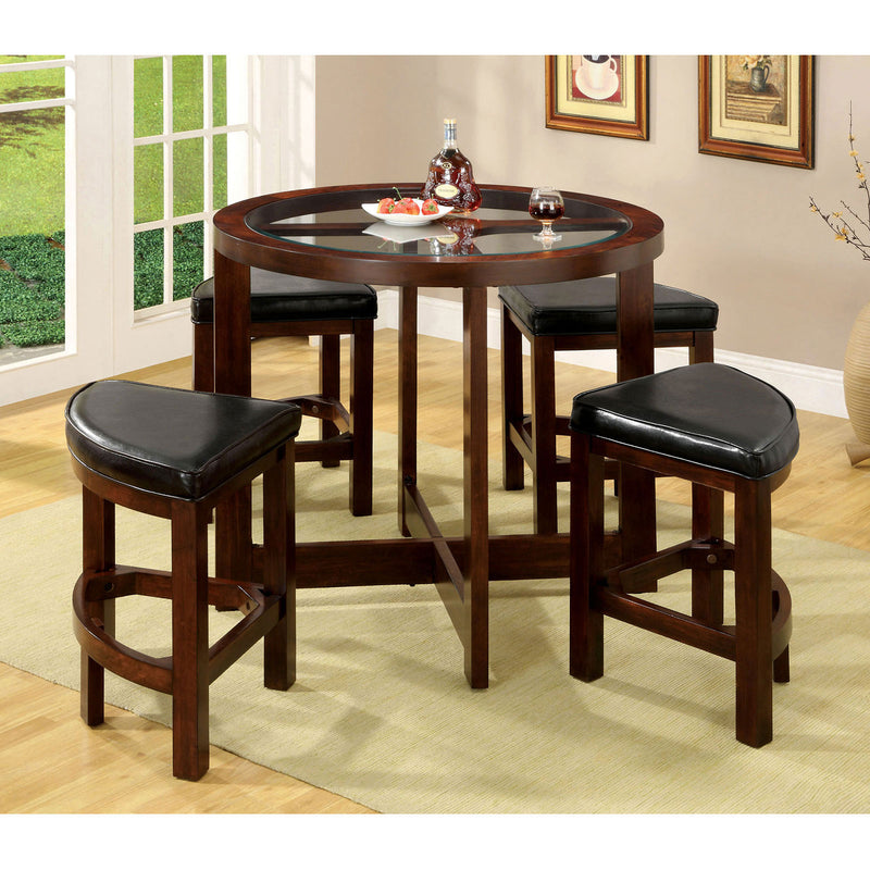 Crystal Cove I Dark Walnut 5 Pc. Round Counter Ht. Table Set (K/D)
