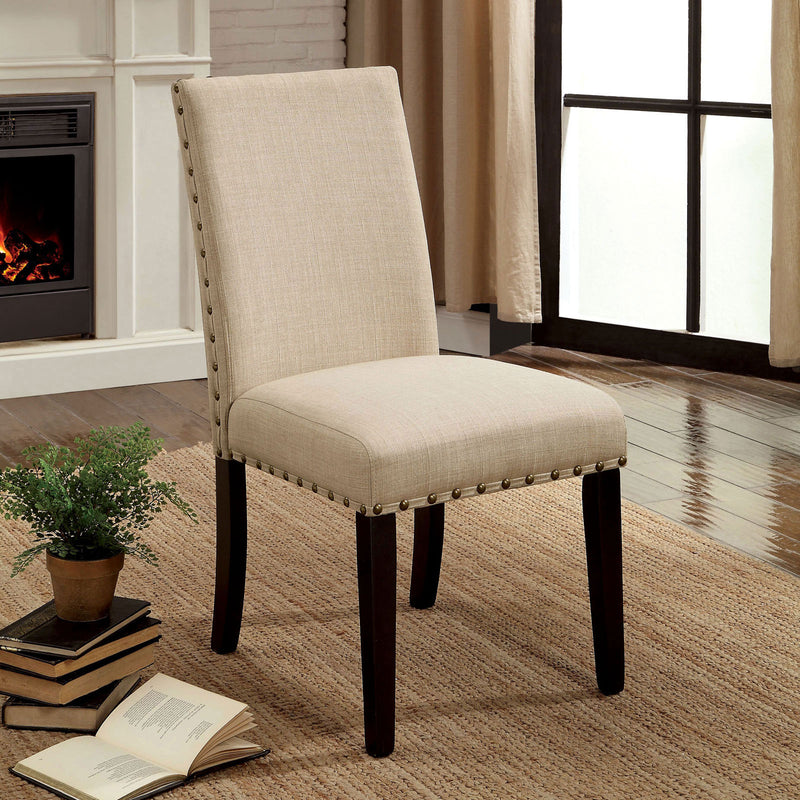 Kaitlin Light Walnut/Beige Side Chair (2/CTN)