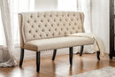 SANIA I Antique Black, Ivory 3-Seater Love Seat Bench, Ivory