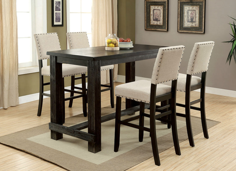 Sania II Antique Black, Ivory 5 Pc. Bar Table Set