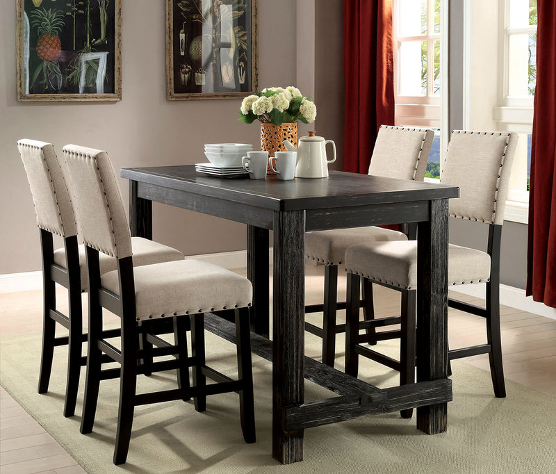 Sania II Antique Black, Ivory 5 Pc. Counter Ht. Dining Table Set