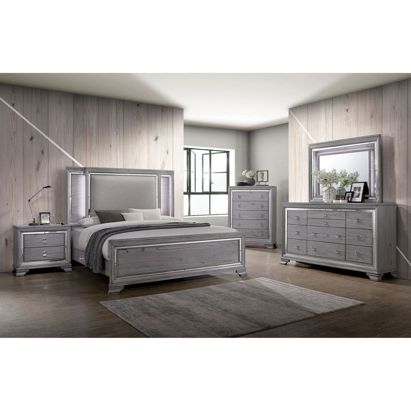 Alanis Light Gray 5 Pc. Queen Bedroom Set w/ 2NS