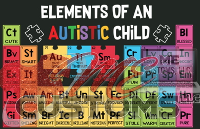 Elements of Autistic Child (Iron On Transfer Sheet Only)