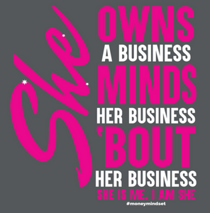 She Owns, Minds, Bout Her Business {HOT PINK TEXT} (Iron On Transfer Sheet Only)