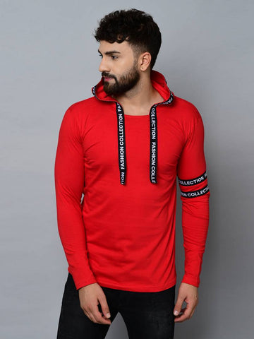 Men's Red Cotton Self Pattern Hooded Tees