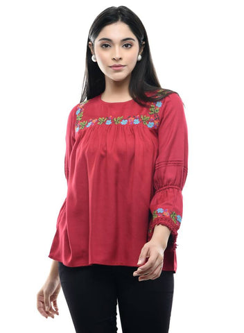Stylish Maroon Embroidered  Rayon Tops For Women