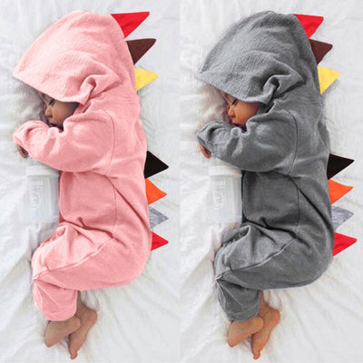 Newborn Baby/Boys Girls Dinosaur Zipper Hooded Romper