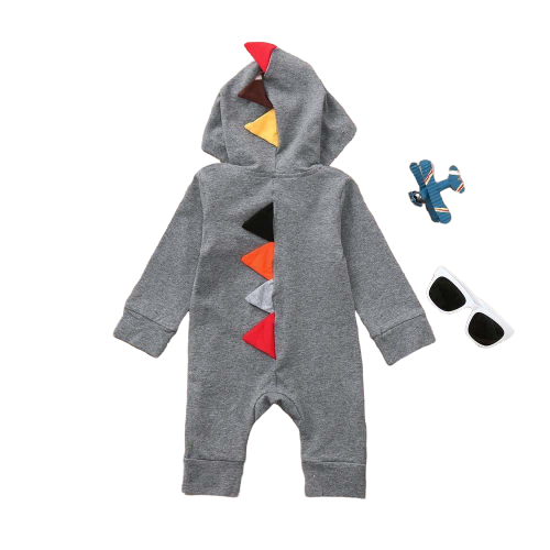 Newborn Baby/Boys Girls Dinosaur Zipper Hooded Romper - TadaBaby