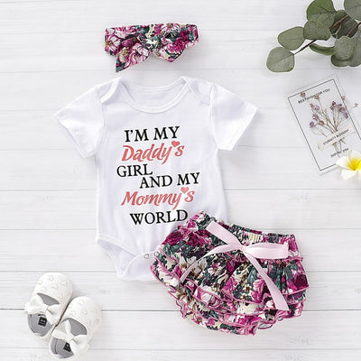 Baby Girls Clothes Playsuit Romper Pants+ Headband Outfit 3pcs Set Toddler